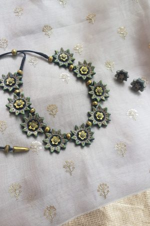Olive green terracotta flower necklace