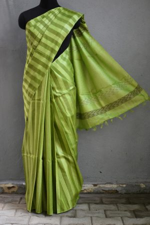 Olive stripes handwoven tussar saree 1