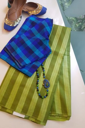 Olive stripes handwoven tussar saree