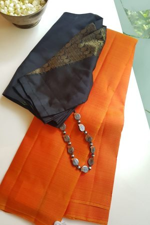 Orange lavanyam kanchi silk saree