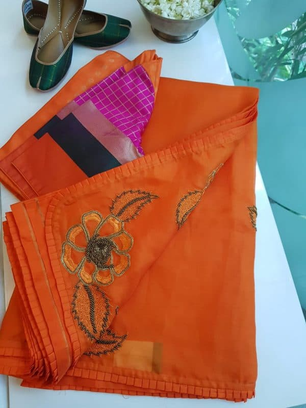 Orange organza silk hand embroidered saree