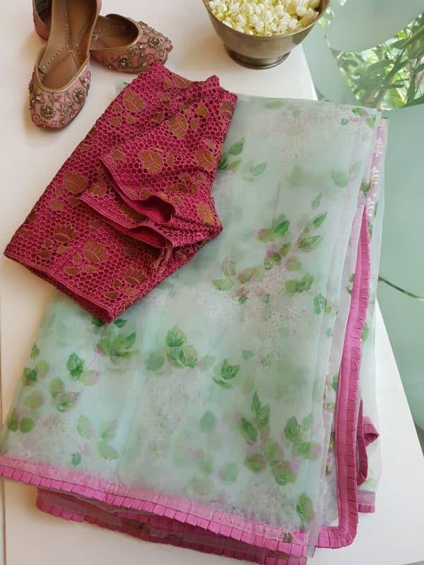 Pale green floral printed organza saree 1