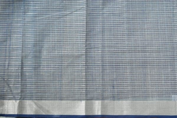 Pale green silver zari checks mangalagiri cotton saree 2