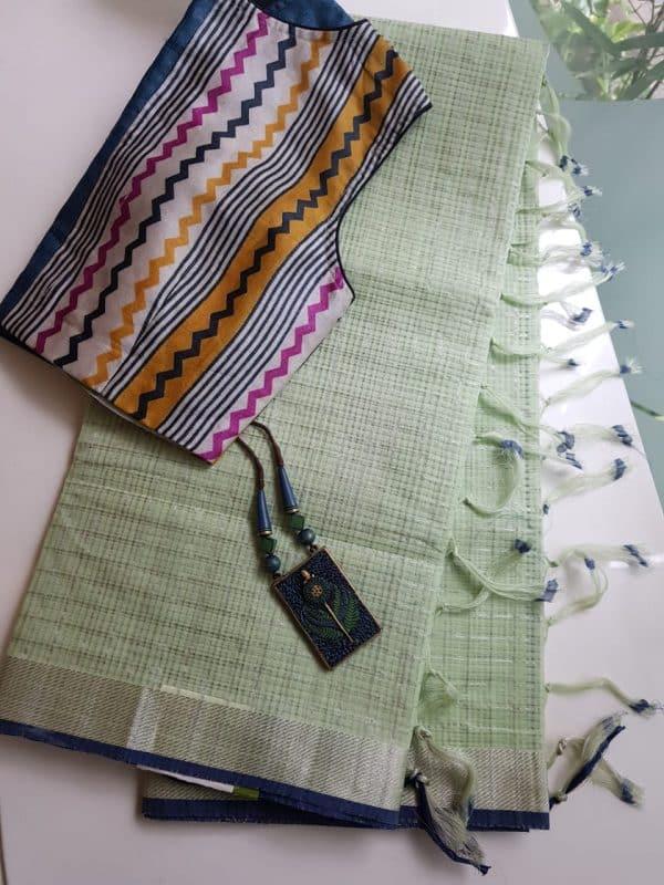 Pale green silver zari checks mangalagiri cotton saree