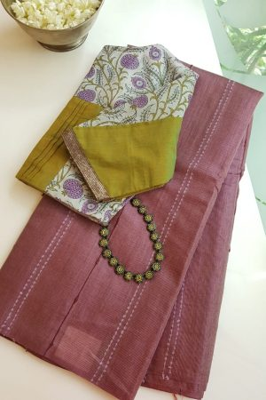 Pale maroon self woven handloom tussar saree 2
