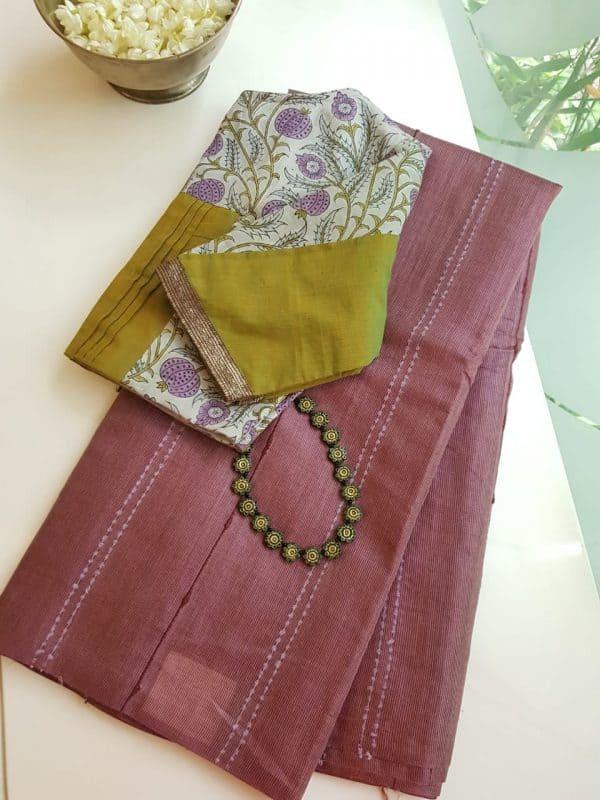 Pale maroon self woven handloom tussar saree 2