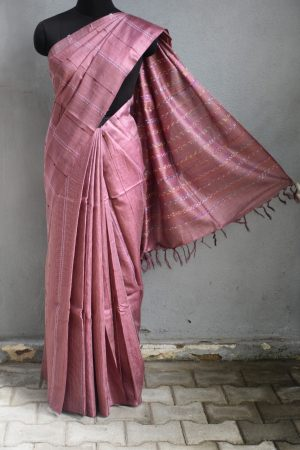 Pale maroon self woven handloom tussar saree