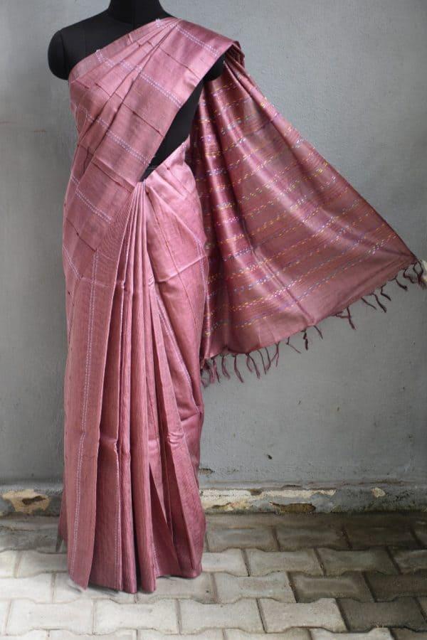 Pale maroon self woven handloom tussar saree