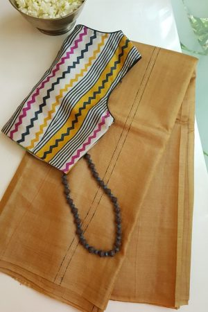 Pale mustard self woven handloom tussar saree 2