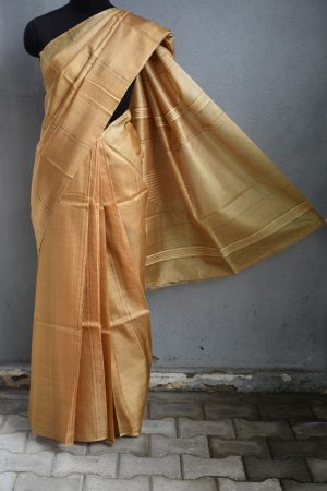 Pale mustard self woven handloom tussar saree