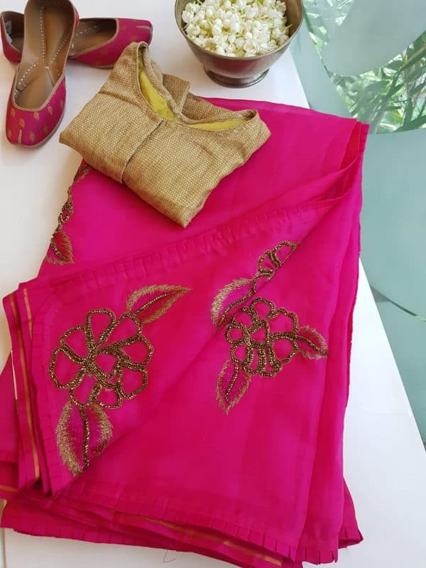 Pink organza silk hand embroidered saree