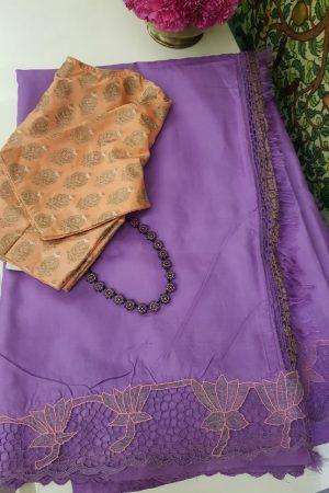 Purple kanchi silk saree with cutwork 2