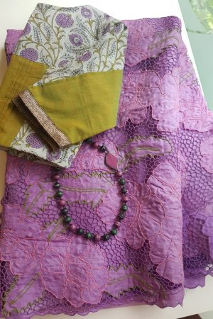 Purple organza cutwork saree 1
