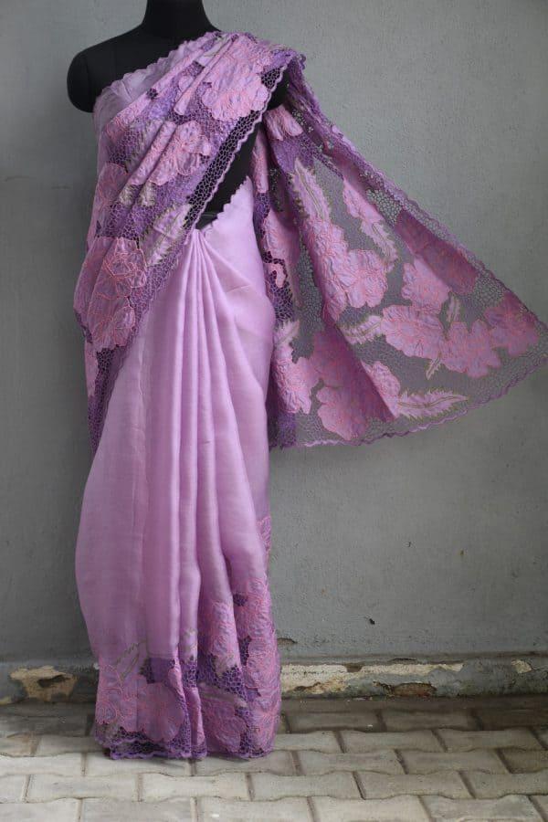 Purple organza cutwork saree
