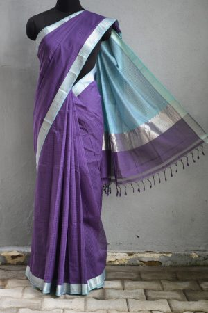 Purple teal mangalagiri missing checks cotton saree 1