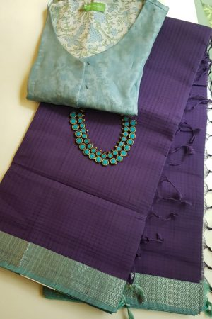 Purple teal mangalagiri missing checks cotton saree