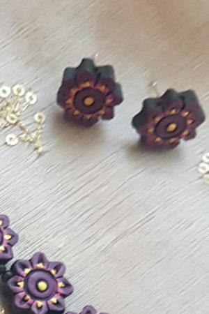 Purple terracotta flower necklace 1