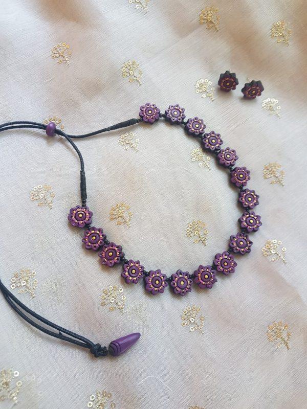 Purple terracotta flower necklace