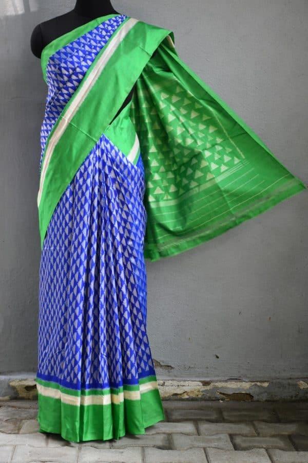 Royal blue green ikat tussar saree 1