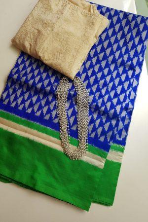 Royal blue green ikat tussar saree