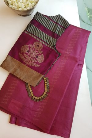 Ruby pink thread woven tussar handloom saree