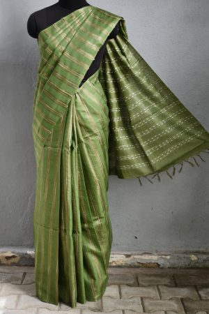 Russian green stripes handwoven tussar saree 1