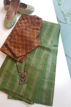 Russian green stripes handwoven tussar saree
