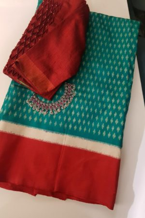 Safire green and red ikat tussar saree