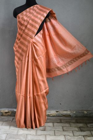 Tomato red stripes handwoven tussar saree 1