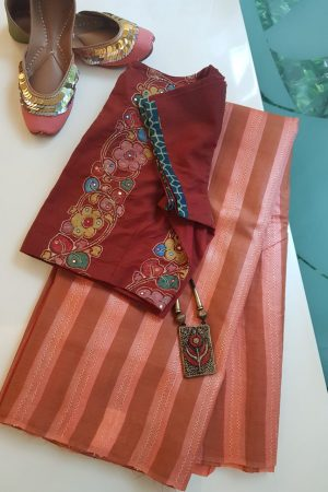 Tomato red stripes handwoven tussar saree