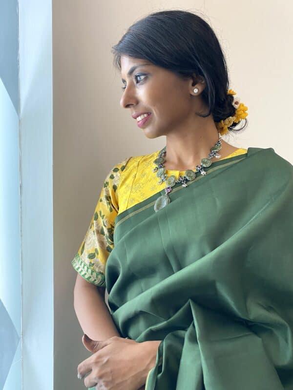 dark green lavanyam kanchi silk saree