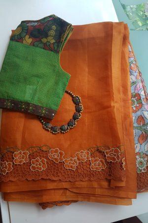 orange organza cutwork saree with printed pallu 2