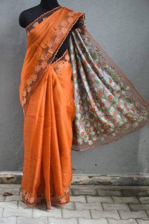 orange organza cutwork saree with printed pallu