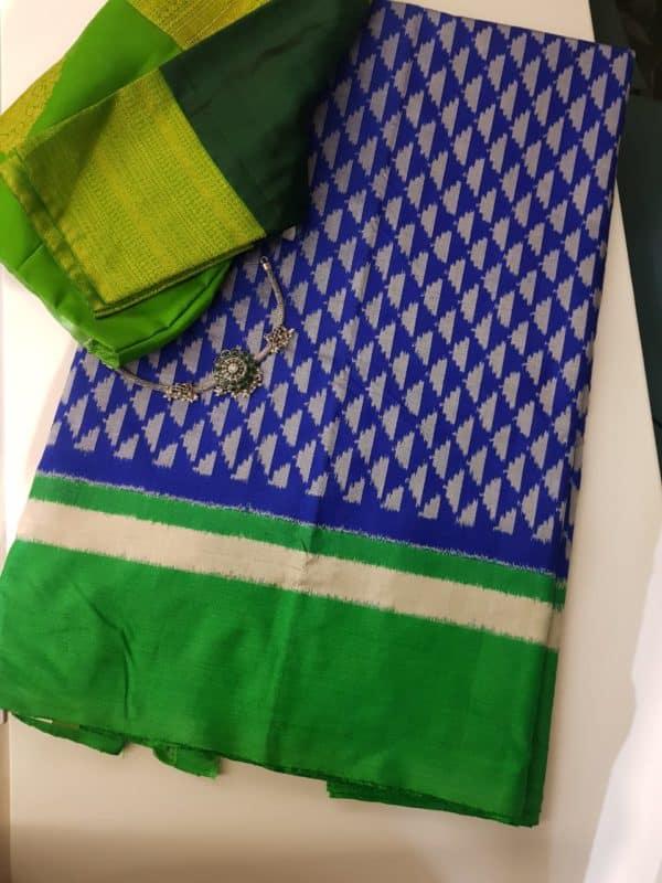 royal blue green tussar ikat saree