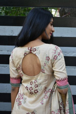 Beige tussar printed top and dupatta 1