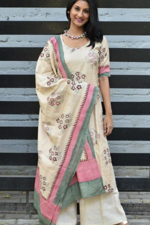 Beige tussar printed top and dupatta
