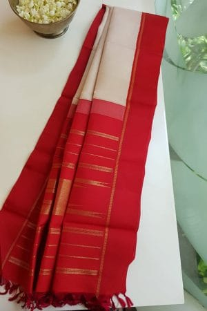 Beige with red korvai kanchi silk dupatta