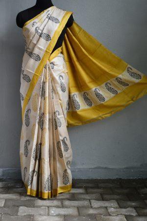 Beige yellow paisley print tussar saree 1