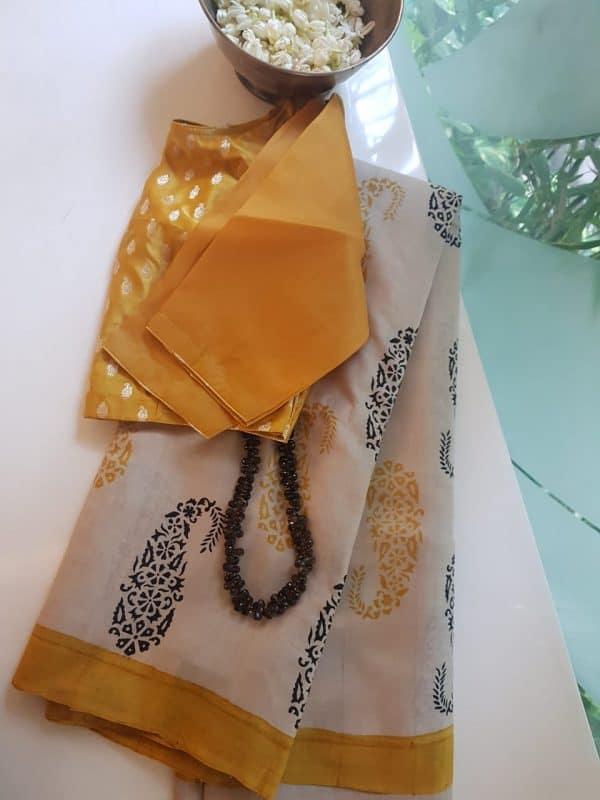 Beige yellow paisley print tussar saree
