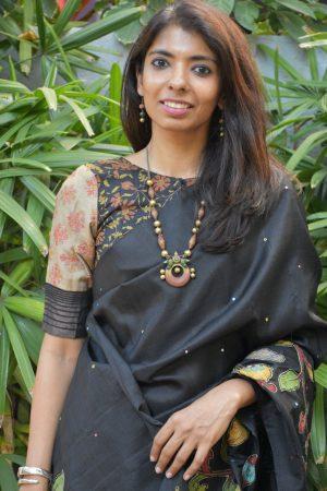 Black tussar printed blouse