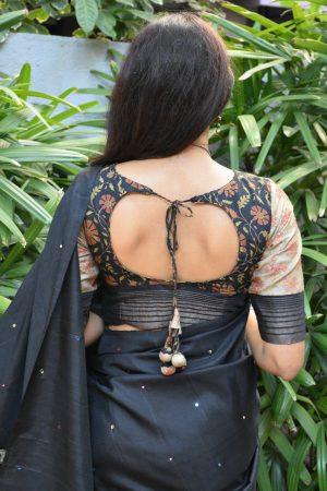 Black tussar printed blouse back
