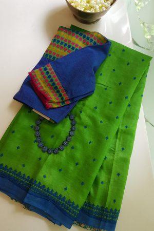 Blue green kutch block print tussar saree