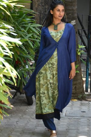 Blue green layered kurta