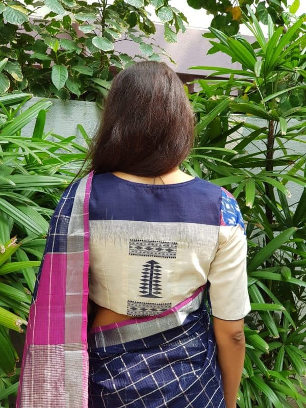 Blue ikat cream handloom cotton blouse back