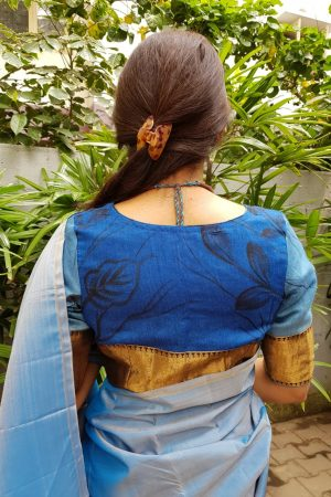 Blue painted tussar blouse back