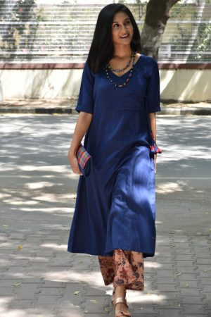 Blue soft cotton kurta with printed pants