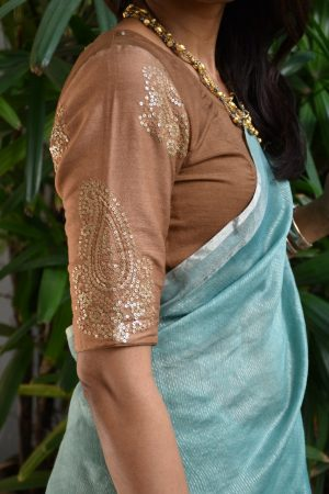Brown embroidered chandheri blouse