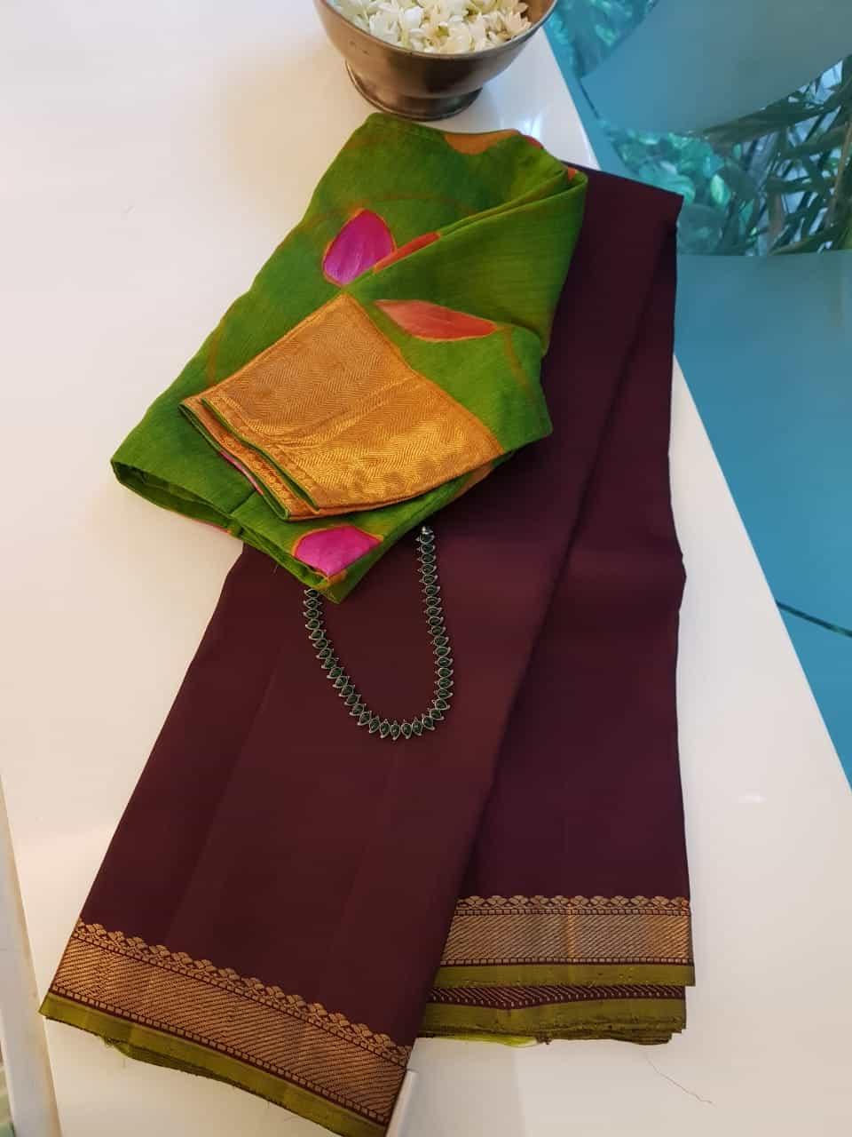 Coffee brown with green border kanchi silk saree
