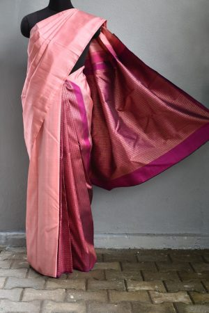 Dusty pink and dark pink partly pallu kanchi silk saree 1