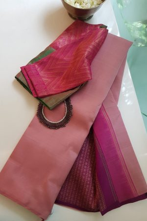 Dusty pink and dark pink partly pallu kanchi silk saree